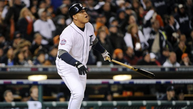 Miguel Cabrera hits a two-run home run off of Matt Cain in the third inning of Game 4.