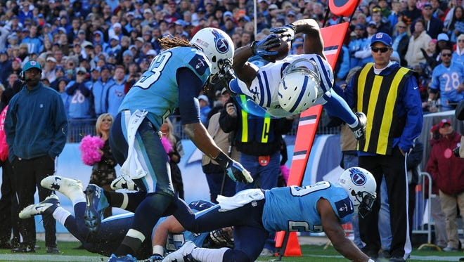 Rookie running back Vick Ballard scores on 16-yard touchdown pass to beat the Tennessee Titans in overtime.