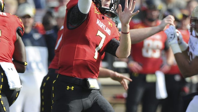 Maryland quarterback Caleb Rowe attempts a pass against Boston College on Oct. 27.