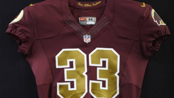 A closer look at the Washington Redskins' throwback jersey, which they will wear Sunday vs. the Carolina Panthers.