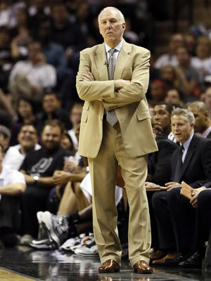 Spurs coach Gregg Popovich makes his normal face during Thursday's game vs. the Thunder.