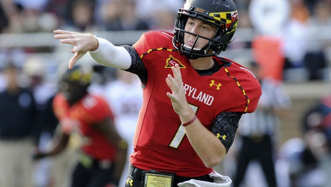 Maryland quarterback Caleb Rowe attempts a pass in a loss to Boston College on Oct. 27.