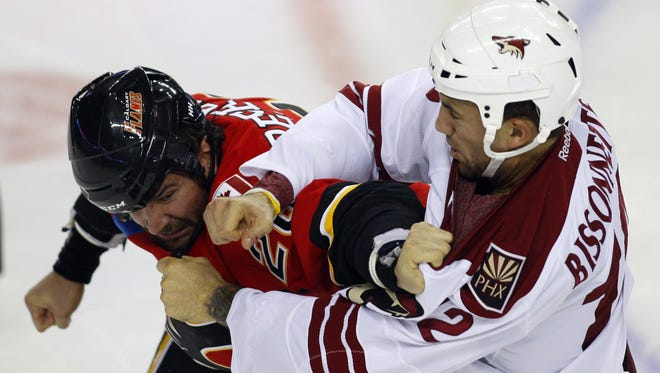 Phoenix Coyotes tough guy Paul Bissonnette, right, was the victim of a prank by Calgary Flames forward Michael Cammalleri.