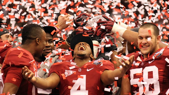 History says that Alabama, which celebrated a 2012 BCS National Championship by beating LSU, could fall to the Tigers tonight and still not be out of this season's championship chase.
