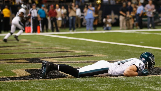 That's Riley Cooper hiding in the end zone before taking a would-be kickoff return TD 93 yards.