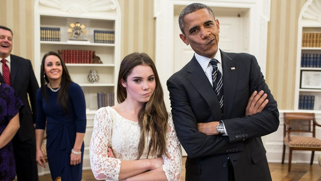 "Barack Obama and McKayla Maroney are ""not impressed."""