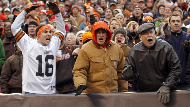 Cleveland Browns fans react during an NFL football game against the Baltimore Ravens earlier this month.