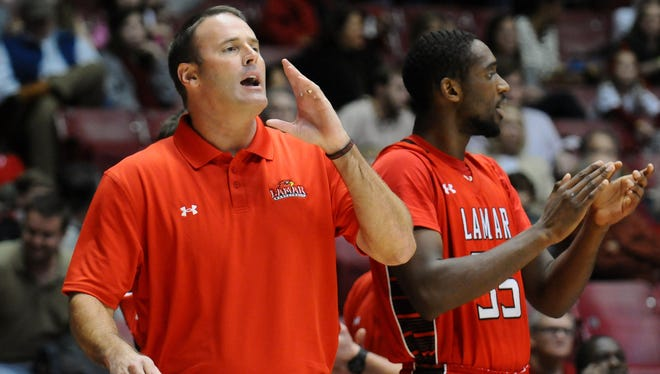 Lamar Cardinals coach Pat Knight shouts to the court during the first half against the Alabama Crimson Tide at Coleman Coliseum.