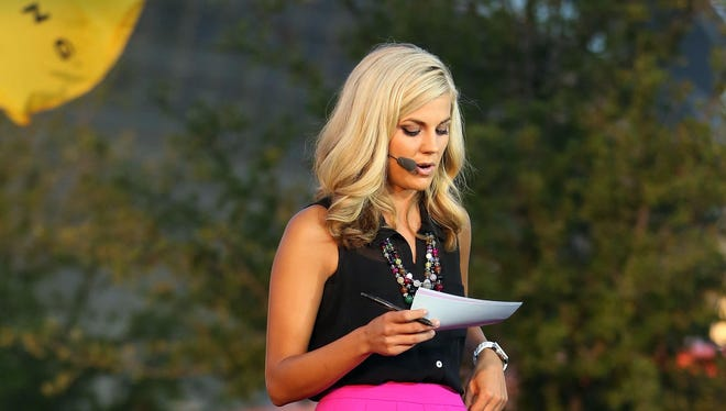"Samantha Steele on the set of ""College Gameday."""