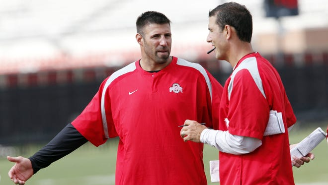 Ohio State assistant coach Mike Vrabel, left, during a preseason practice in 2011.