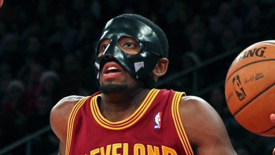 Kyrie Irving scored a career-high 41 points while sporting a black protective face mask.
