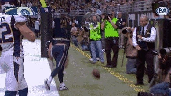 Danny Amendola's spike was on its way to the older gentleman's face
