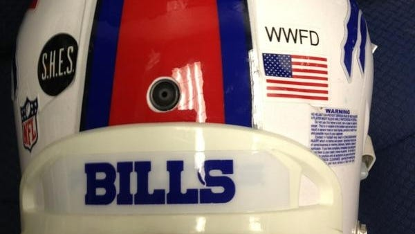 """A """"WWFD"""" sticker will don the back of the Bills' helmets for Sunday's season finale."""