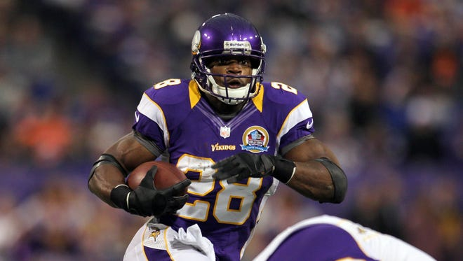 Adrian Peterson is 208 yards away from breaking Eric Dickerson's single-season rushing record.