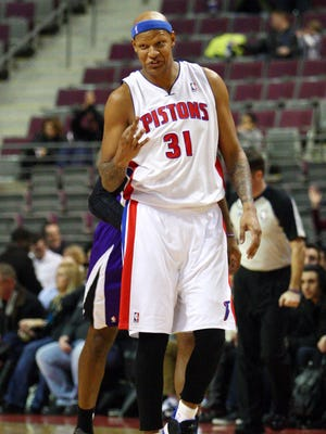 Detroit Pistons power forward Charlie Villanueva reacts after making a three point basket during the first quarter against the Sacramento Kings at The Palace of Auburn Hills.