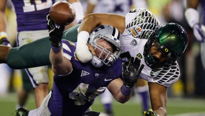 Kansas State gave Oregon a free point by earning a one-point safety in the third quarter.