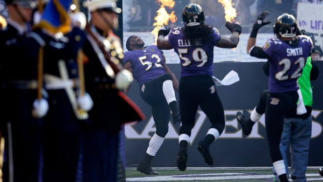 """Ray Lewis (52) takes the field with his trademark """"squirrel"""" dance on last time at M&T Bank Stadium prior to Sunday's home wild-card playoff game."""