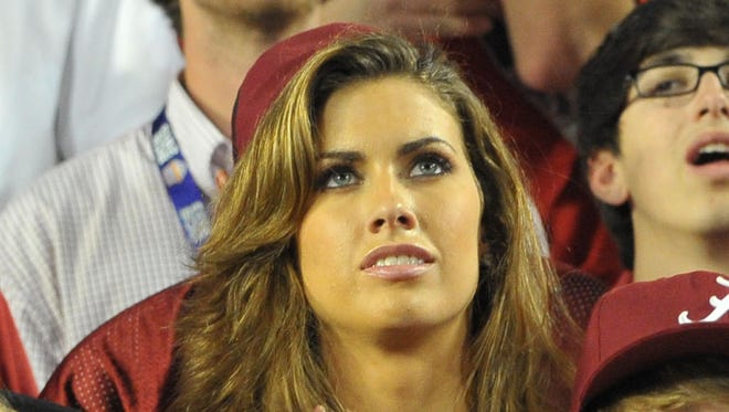 Katherine Webb, girlfriend of Alabama quarterback AJ McCarron, watches the BCS National Championship game Monday  when the Crimson Tide beat the Notre Dame Fighting Irish 42-14.