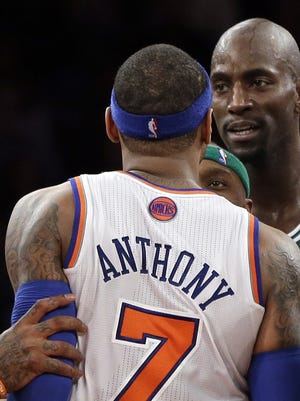 Carmelo Anthony and Kevin Garnett were both ejected from Monday's game in New York.