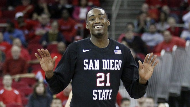 San Diego State Aztecs guard Jamaal Franklin reacts after the Aztecs made a basket against the Fresno State Bulldogs in the second half at the Save Mart Center. The Aztecs defeated the Bulldogs 65-62.