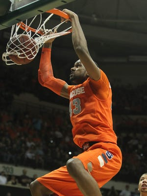 Syracuse Orange forward James Southerland (43) dunks in a game earlier this season.
