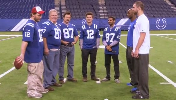 "Andrew Luck and Reggie Wayne (right) on Thursday's episode of ""Parks and Recreation""."