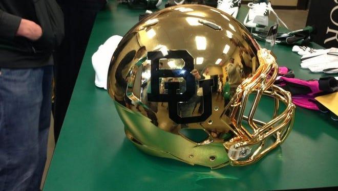 Baylor's new golden helments.