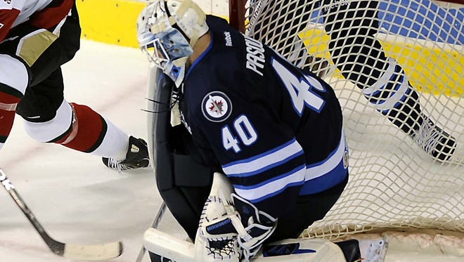 St John's IceCaps goalie Eddie Pasquale in the first period on Dec. 1, 2012, in Wilkes-Barre, Pa.