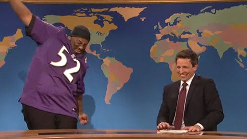 Kenan Thompson plays Ray Lewis on 'Saturday Night Live' with Seth Meyers.