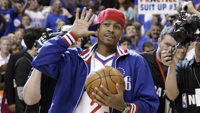 Iverson got a warm welcome from the Philly fans when he appeared at a 76ers playoff game last season.
