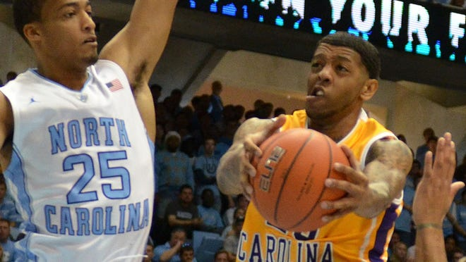 East Carolina guard Shamarr Bowden, shown here in a game against North Carolina earlier this season, was ejected from his team's game against UTEP on Saturday.