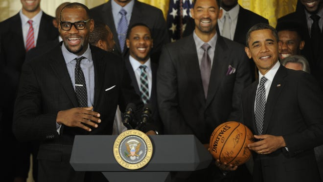 LeBron James was ecstatic to be in the White House on Monday, as President Obama welcomed the Miami Heat to celebrate their 2012 championship.
