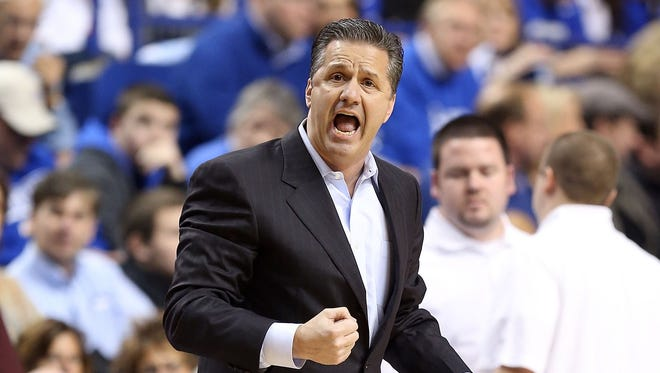 Kentucky coach John Calipari gives his team instructions during its game against the LSU Tigers on Jan. 26.