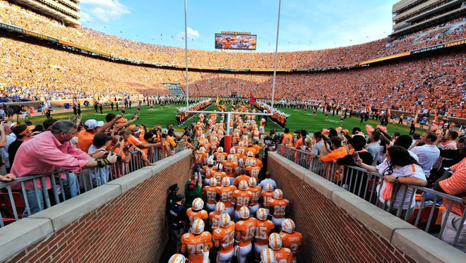Tennessee Volunteers players enter the field prior to the game against the Florida Gators at Neyland Stadium. Florida defeated Tennessee 37-20.