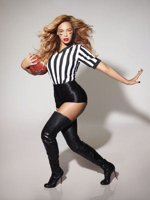 Beyonce in a Super Bowl promo shoot.
