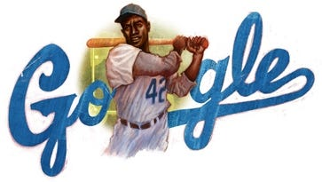 Google crafted doodle of legendary Jackie Robinson in honor of his 94th birthday.