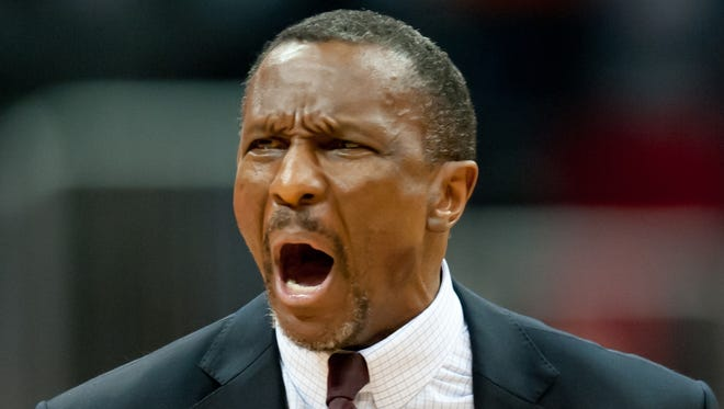 Toronto Raptors head coach Dwane Casey reacts to his team's 93-92 loss to the Atlanta Hawks at the end of the fourth quarter at Philips Arena.