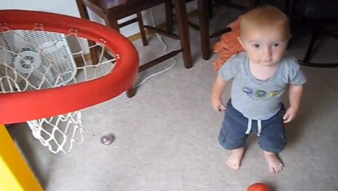 This 2-year-old named Titus showed off his awesome shooting ability in a YouTube trick shots compilation.
