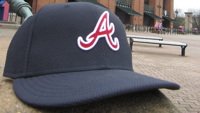 """The Braves will wear a navy blue hat featuring a red script """"A"""" for batting practice and spring training in 2013."""