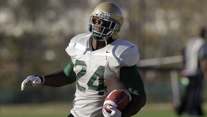 Terrance Ganaway, shown running drills while at Baylor in November 2011, was a backup on the Rams as a rookie last season, appearing in three games.