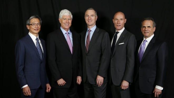 LOS ANGELES - Hotel CEOs (left to right): Best Western's David Kong, Kimpton's Mike Depatie, Interstate's Jim Abrahamson, Carlson Rezidor Hotel Group President Thorsten Kirschke, Wyndham Hotel Group's Eric Danziger.