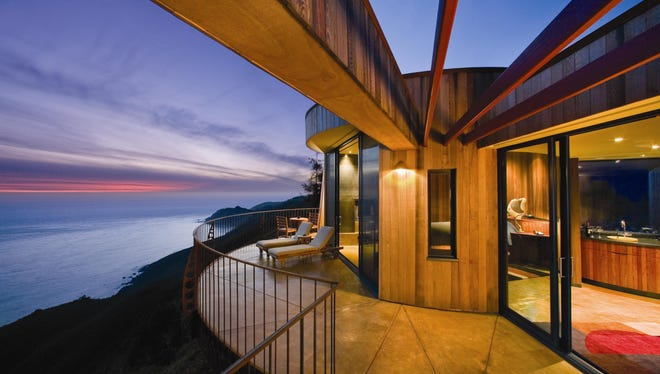 This Upper Pacific Suite at the luxury Post Ranch Inn in Big Sur, Calif., hangs on a cliff overlooking the Pacific Ocean.