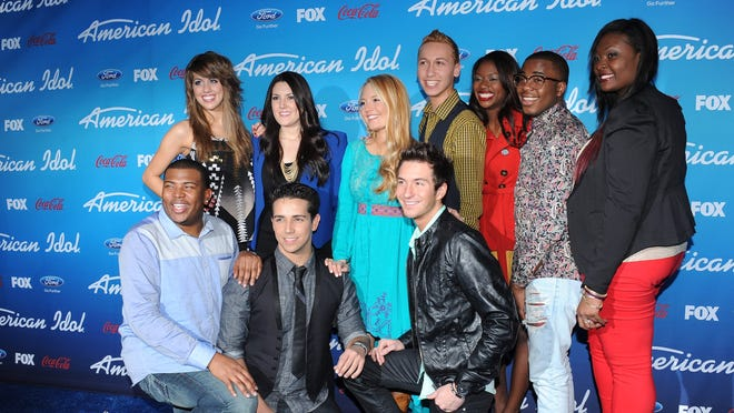 AMERICAN IDOL: (Top Row L-R) The Top Ten finalists Angie Miller, Kree Harrison, Janelle Arthur, Devin Velez, Amber Holcomb, Burnell Taylor and Candice Glover, and (Bottom Row L-R) Curtis Finch, Jr., Lazaro Arbos and Paul Jolley arrive on the blue carpet at the season 12 AMERICAN IDOL FINALIST PARTY on Thursday, March 7 at The Grove in Los Angeles, CA.
