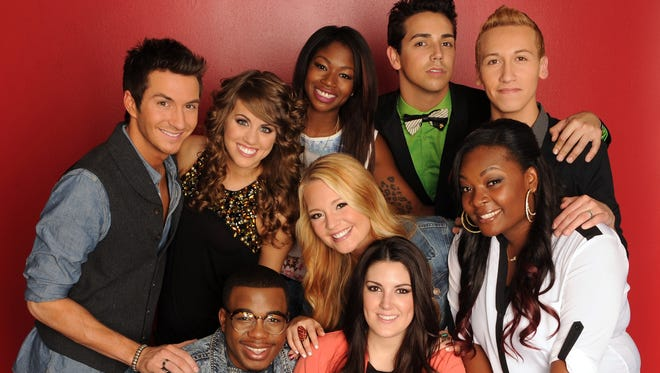 Clockwise from left: Paul Jolley, Angie Miller, Amber Holcomb, Lazaro Arbos, Devin Velez, Candice Glover, Kree Harrison, Janelle Arthur and Burnell Taylor.