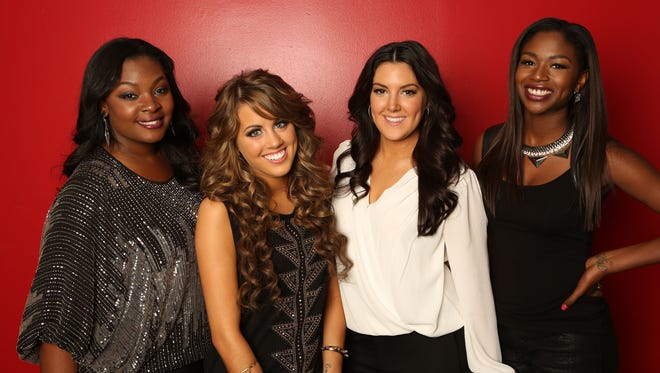 Candice Glover, left, Angie Miller, Kree Harrison and Amber Holcomb of 'American Idol.'