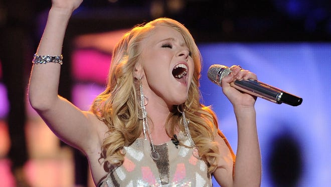 """Hollie Cavanagh performs in front of the judges on  """"American Idol"""" airing Wednesday, May 2, 2012."""