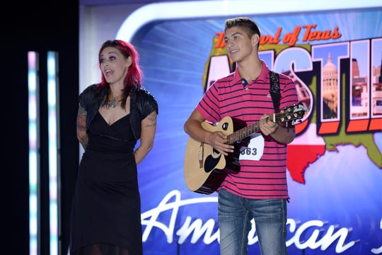 """""""American Idol"""" hopeful Tristen Langley and his mother, former finalist McKibbin, at his audition in 2014. Langley was sent home in the post-audition round."""