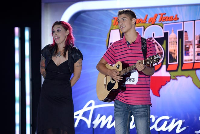 """American Idol"" hopeful Tristen Langley and his mother, former finalist McKibbin, at his audition in 2014. Langley was sent home in the post-audition round."