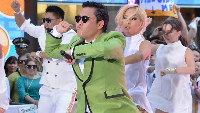 South Korean rapper Psy performs on NBC's 'Today' at Rockefeller Plaza.
