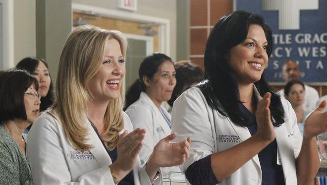 Actresses Jessica Capshaw, left, and Sara Ramirez play married doctors Arizona and Callie on ABC's 'Grey's Anatomy.'